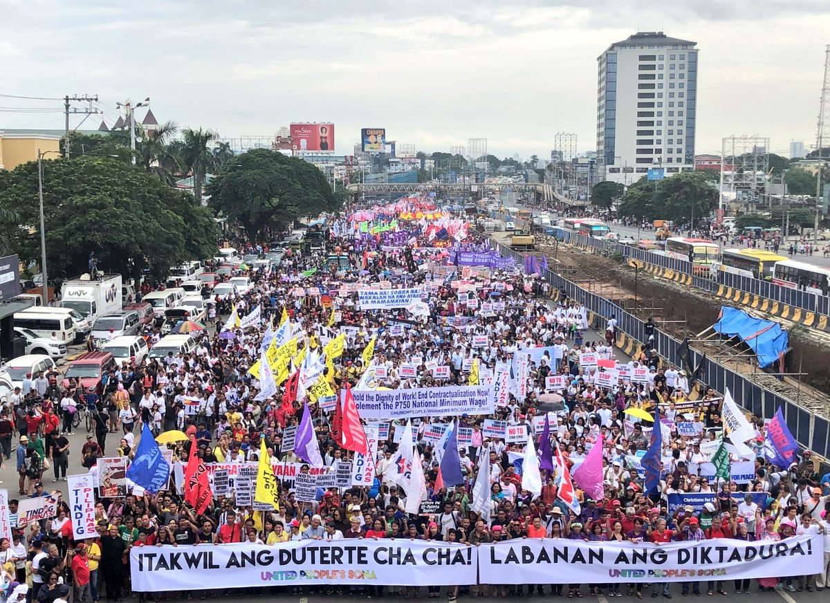 Thousands of protesters march in Commonwealth Avenue ahead of President Duterte's third State of the Nation Address #SONA2018