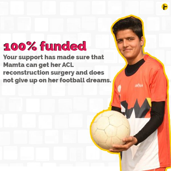 #BitGivingImpact | A 16-year-old from Hisar never thought she would be able to play football again. Your love and support that has made sure Mamta can get her surgery. She will be undergoing her ACL reconstruction surgery today. Read the updates here: https://t.co/flUDGoOPeF https://t.co/4NSntXeffk