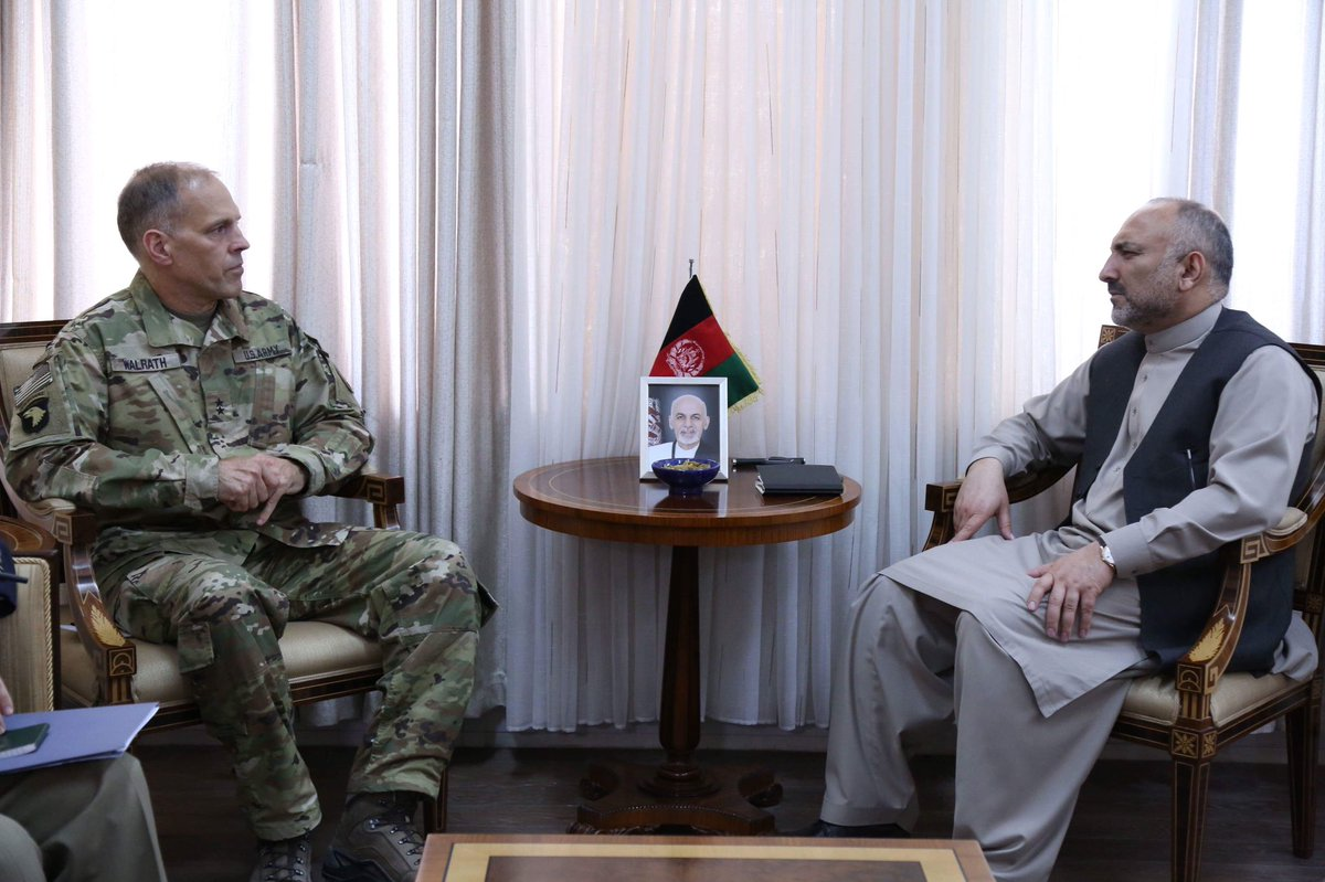 Met Dep. Commander @ResoluteSupport, Gen. Walrath, to discuss military to military cooperation in our joint CT campaign. Gen. Walrath conveyed that the US AFG RSM will continue to support AFG forces in both CT and capability development on the basis of the four-year plan.