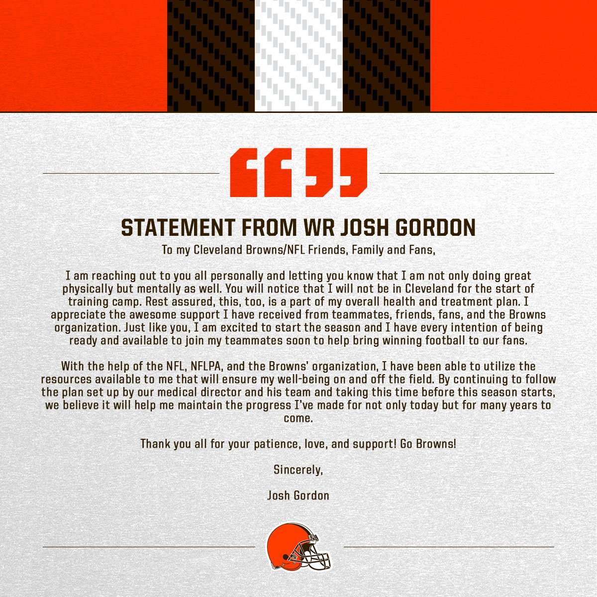 Statement from WR Josh Gordon and GM John Dorsey  �� » https://t.co/lXw21mrPxc https://t.co/RbJF0BQ46B