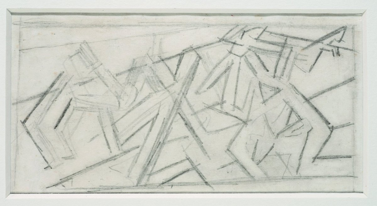 David Bomberg, Study for Mud Bath, c. 1914, Pencil, Private Collection © The estate of David Bomberg, the Bridgeman Art Library