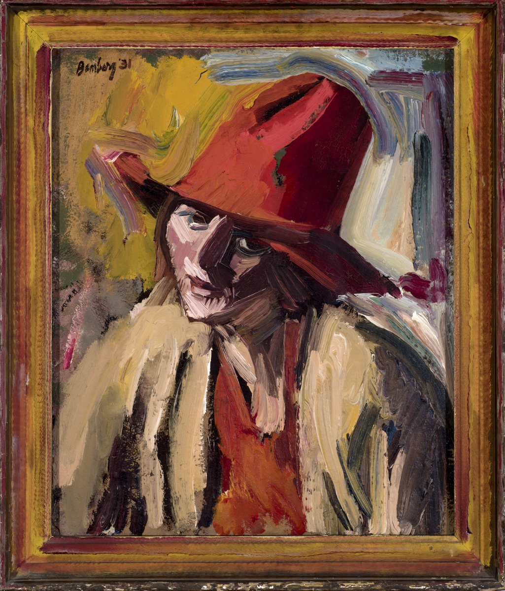 David Bomberg, The Red Hat, 1931, Oil on canvas, Private Collection This boldly painted portrait of Lilian Holt, wearing a red hat, is one of his finest; the dominant crimson palette even seeping onto the frame.© The estate of David Bomberg, the Bridgeman Art Library