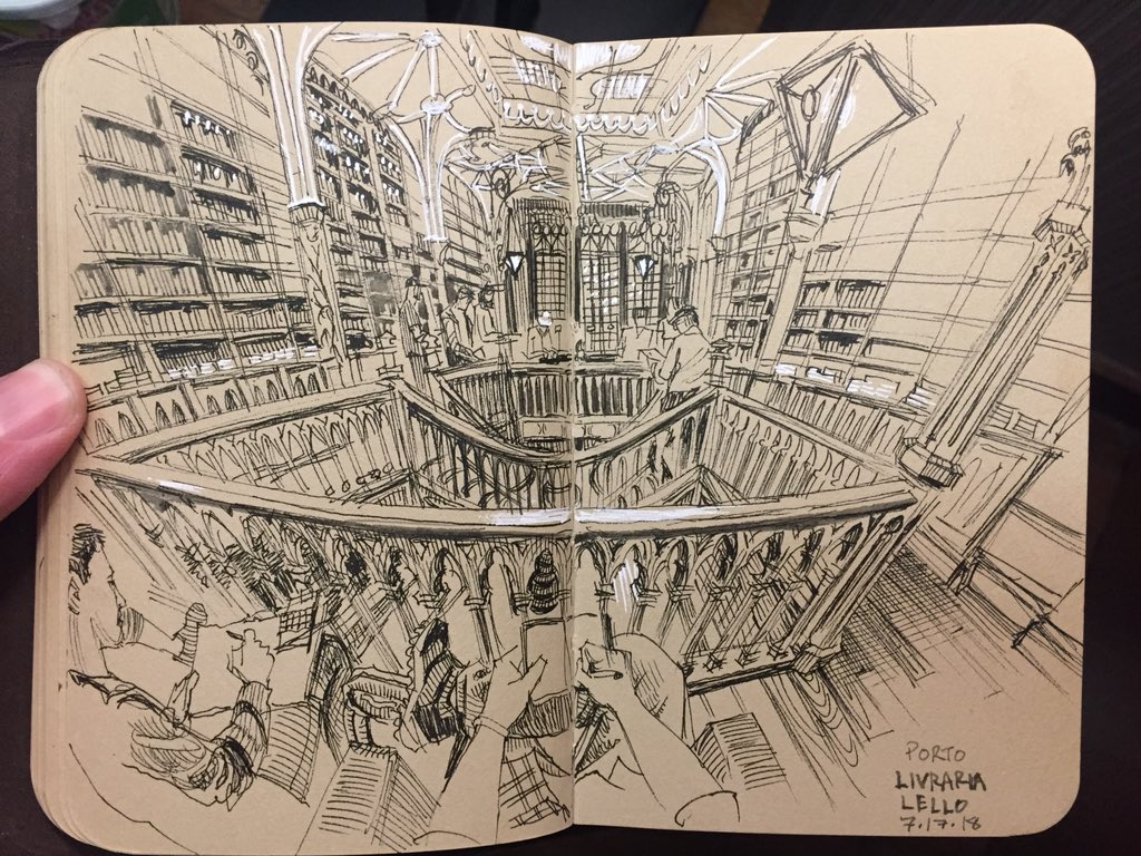 Livraría Lello in Porto, Portugal, a gorgeous Art Nouveau bookstore that inspired the look of Harry Potter among other things. 50 of us came for a special 'after hours' sketching session here. #livrarialello #uskporto2018 #stillmanandbirn #urbansketchers<br>http://pic.twitter.com/ofmVN2cxBA