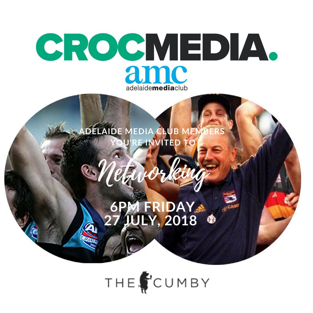 #Adelaide #Media Club members you're invited to July Drinks Fri 27JUL18 6PM @TheCumbyPub BTTB @Crocmedia @perotti83 @jatomczyk @gareth_irlam https://t.co/i0RqRc1jdG