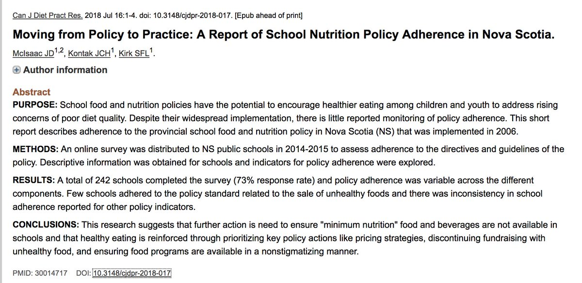 Sara Fl Kirk On Twitter Our New Paper On Schoolfood Policy