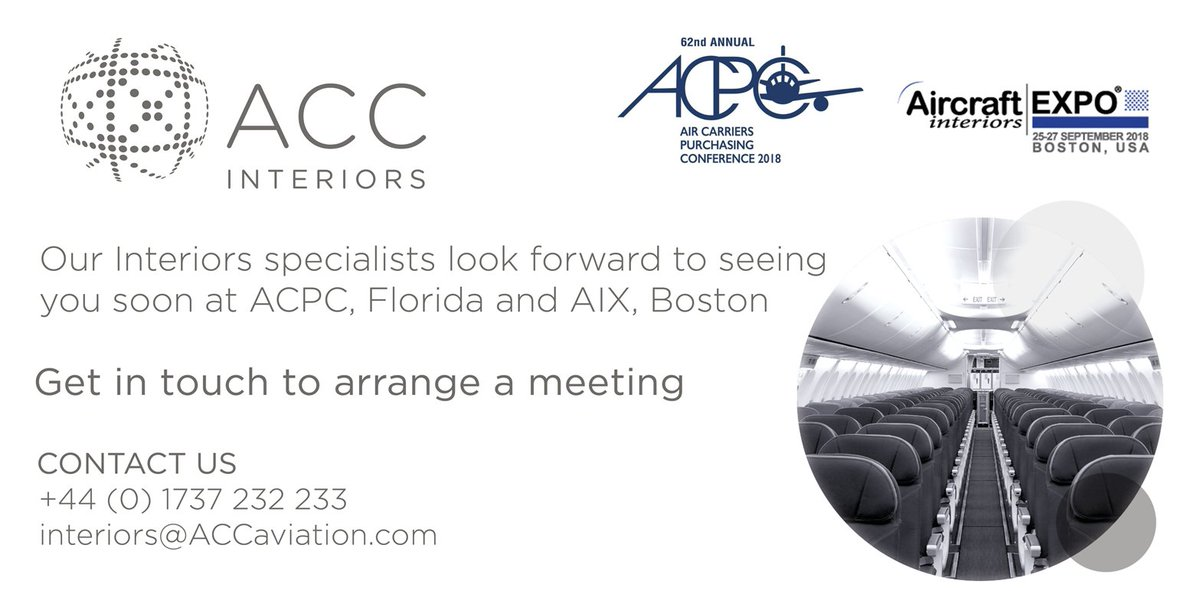 Our #aircraft Interiors Specialists Are Looking Forward To Attending This  Yearu0027s Aircraft Carriers Purchasing Conference In Florida And #AIXBoston.