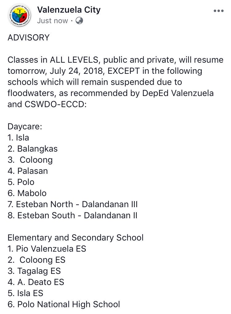 Classes In All Levels Public And Private Will Resume Tomorrow