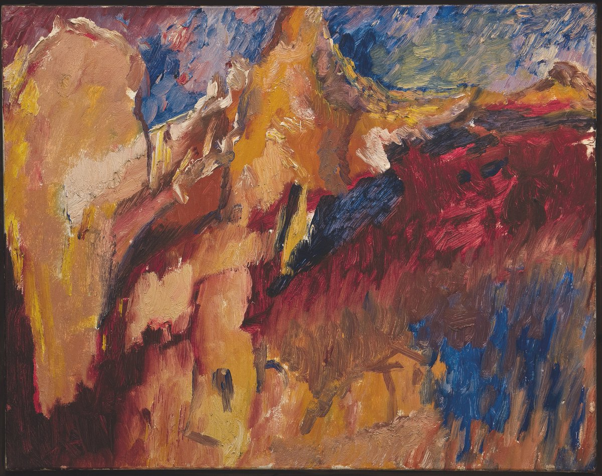 David Bomberg, Tajo and Rocks (The Last Landscape), 1956, Oil on canvas, Pallant House Gallery, Wilson Loan (2006)   © Pallant House Gallery, courtesy of David Bomberg Estate)