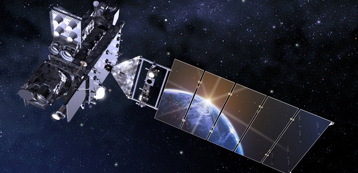 NASA image of An artist's depiction of the GOES-16 satellite in orbit