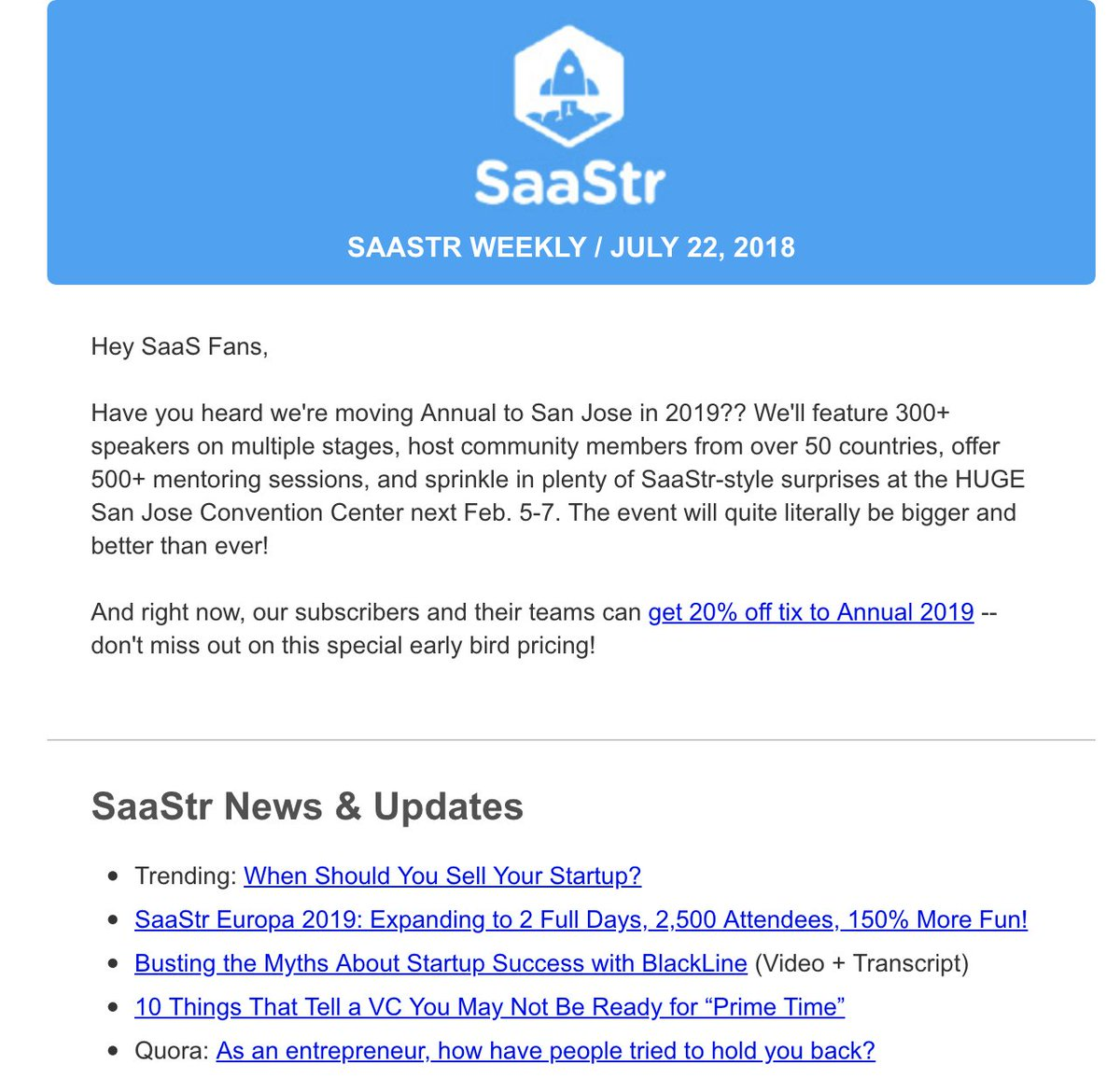 Jason M Lemkin On Twitter Saastr Annual Prices Go Up August 1 Get 20 Off Here Now Before End Of Month Https T Co 2smkpidbpu