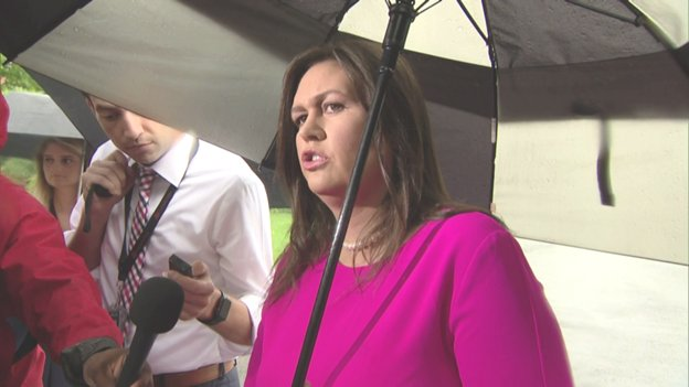 """During rainy WH driveway gaggle, @PressSec says @POTUS tweet/warning to Iran shows 'he's not going to allow them to continue to make threats against America."""" She says 'if anybody is inciting anything, look no further than to Iran."""""""