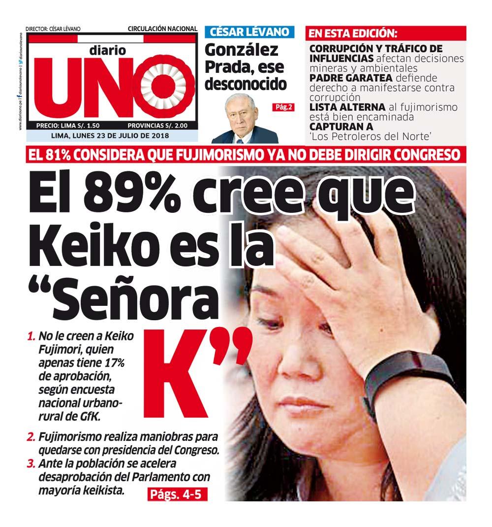 ¡Buenos días! Nuestra portada impresa de hoy lunes 23 de julio de 2018 del @diariounolevano - Lima Perhttps://t.co/B4rVgDYBpoú