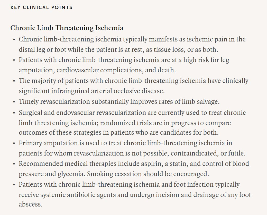 Key Clinical Points: Chronic Limb-Threatening Ischemia. Read the full Clinical Practice article: https://t.co/rQ89lqMs8W