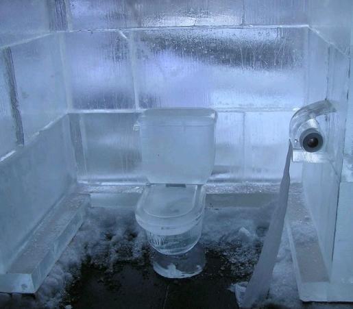 氷のトイレで涼しい