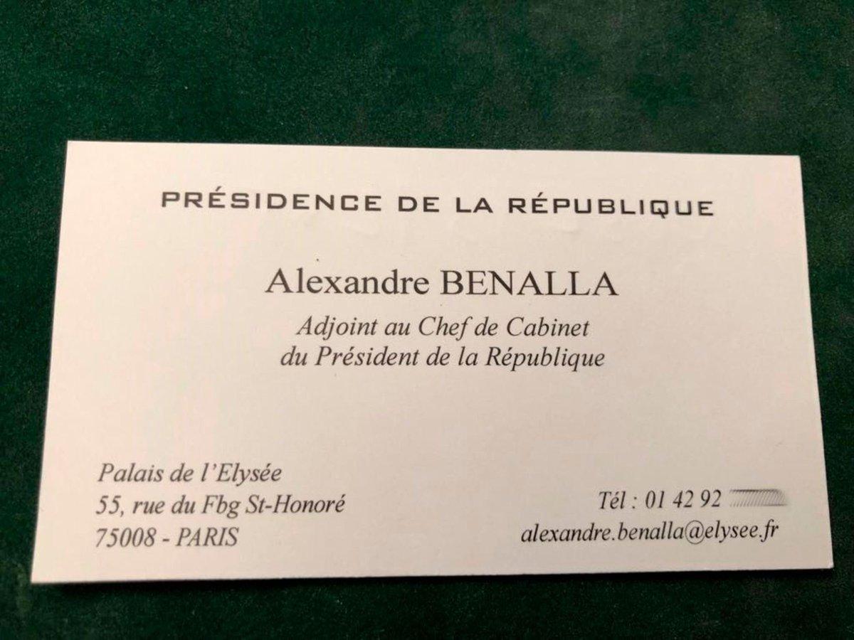 Eric Mandonnet On Twitter La Carte De Visite DAlexandreBenalla Qui Se Presentait Comme Adjoint Au Chef Cabinet Mais Sans Jamais Avoir Ete Nomme