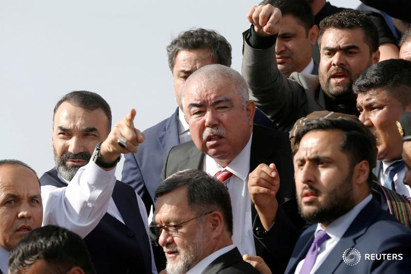 Afghan Vice President Abdul Rashid Dostum arrives at the Hamid Karzai International Airport in Kabul.
