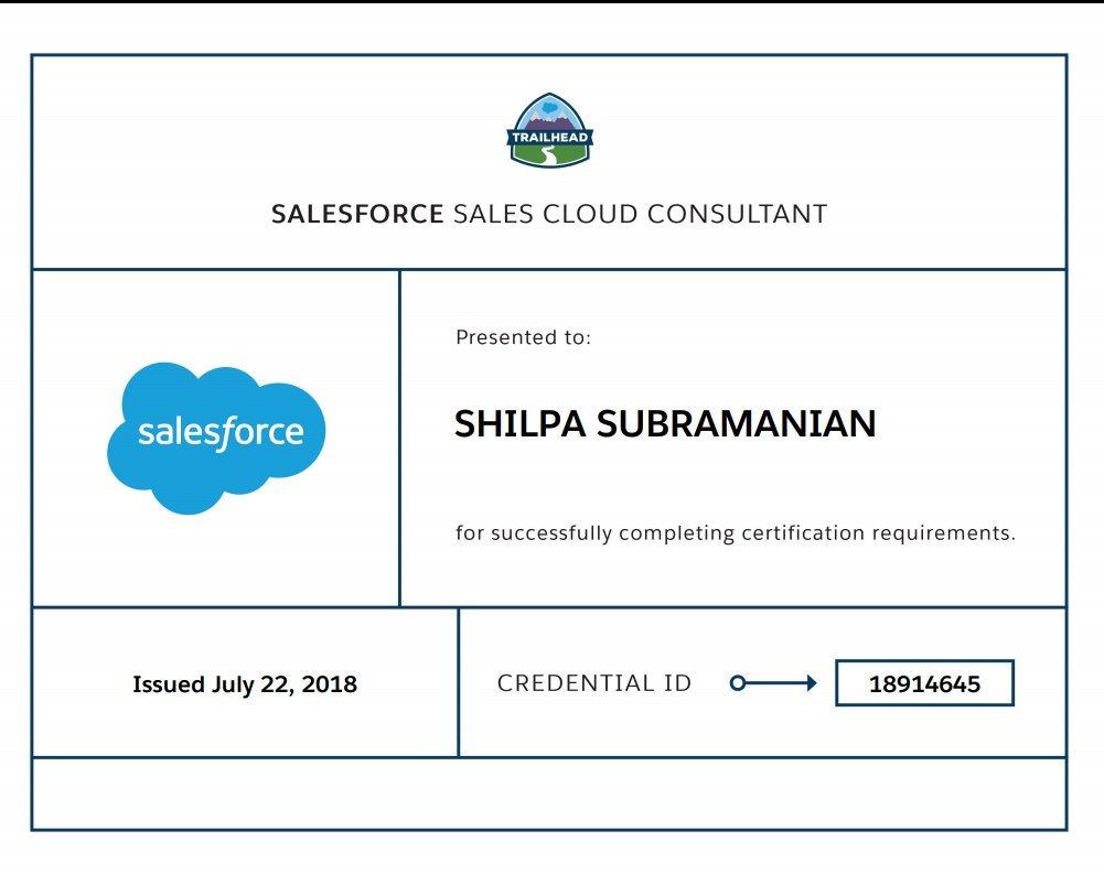 Shilpa Subramanian On Twitter Yay Earned My Salesforce