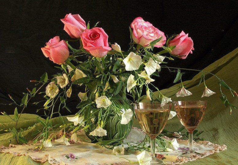 Стихи и картинки вечер добрый красивые букеты роз
