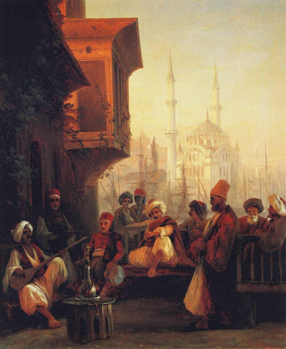 Coffee house by the Ortaköy Mosque in Constantinople #ivanaivazovsky #russianart