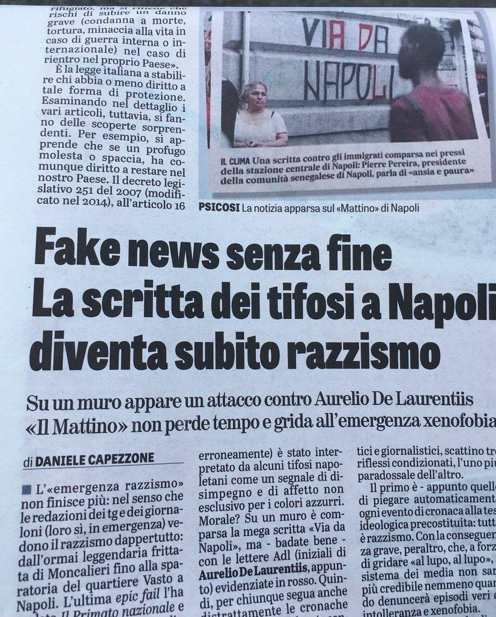 """Su @LaVeritaWeb di oggi. L'""""emergenza #razzismo"""" non finisce mai. Pure una scritta dei tifosi del #Napoli contro #DeLaurentiis diventa """"#xenofobia""""  - Ukustom"""