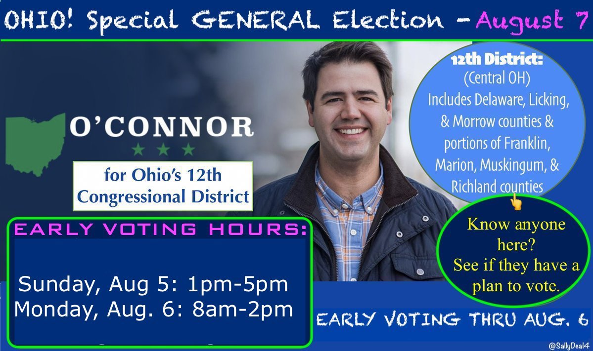 #OH12, too busy to vote for @dannyoconnor1 on election day, Aug 7 (6:30am-7:30pm)?   2 days left for EARLY VOTING    #SundayFunday would be an especially awesome day to #Vote!  INFO   https:// dannyoconnorforcongress.com/vote/  &nbsp;     https:// dannyoconnorforcongress.com / &nbsp;    #ObamaDay #Ohio #FlipOh12 #Ohio<br>http://pic.twitter.com/QJVPjQKc5v