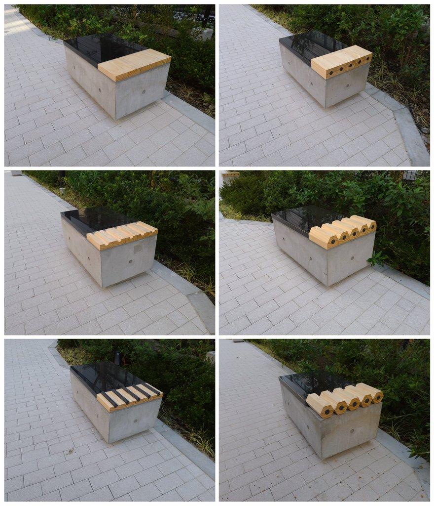 これは良いセンス!三菱鉛筆本社横のベンチが鉛筆の製造工程になってるw