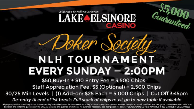 Lake elsinore poker tournament schedule how to deal blackjack for beginners