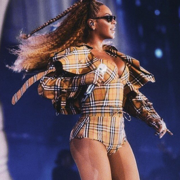 .@Beyonce performs in East Rutherford New Jersey in a custom #Burberry vintage check look #OTRII Photographed by Driely S. Carter, beyonce.com
