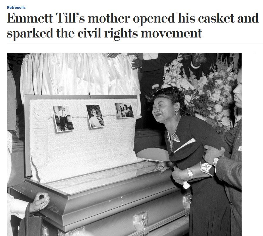 Emmett Till&#39;s mother opened his casket and sparked the civil rights movement  https://www. washingtonpost.com/news/retropoli s/wp/2018/07/12/emmett-tills-mother-opened-his-casket-and-sparked-the-civil-rights-movement/?utm_term=.ca6d0f04d14e &nbsp; … <br>http://pic.twitter.com/L7lJSc2oBy