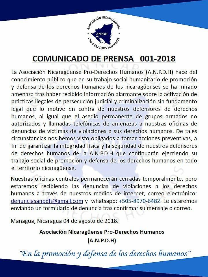Que pasa cuando la oficina que defiende los derechos humanos cierra sus puertas por amenazas? #SosNicaragua