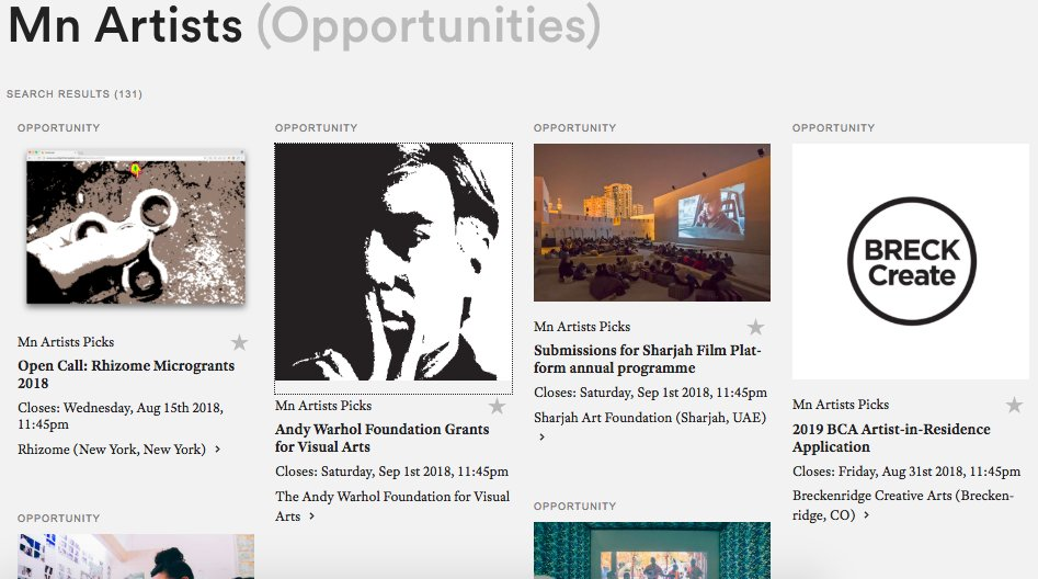 mn artists on twitter many new opportunities posted this week at