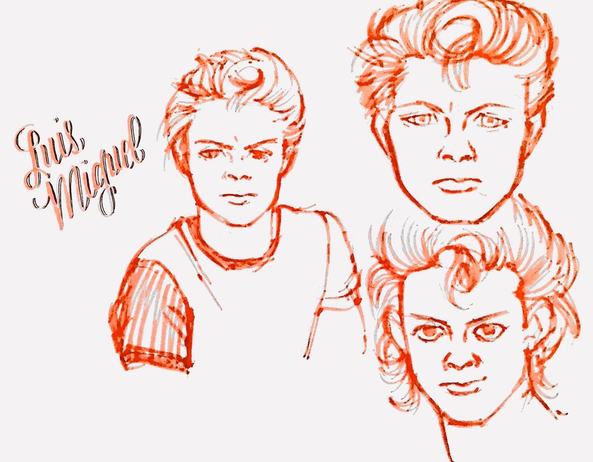 Aquí extrañando a @serieluismiguel y por eso me puse a dibujar unos Luismis. Parece un bello Ken. #LuisMiguelLaSerie
