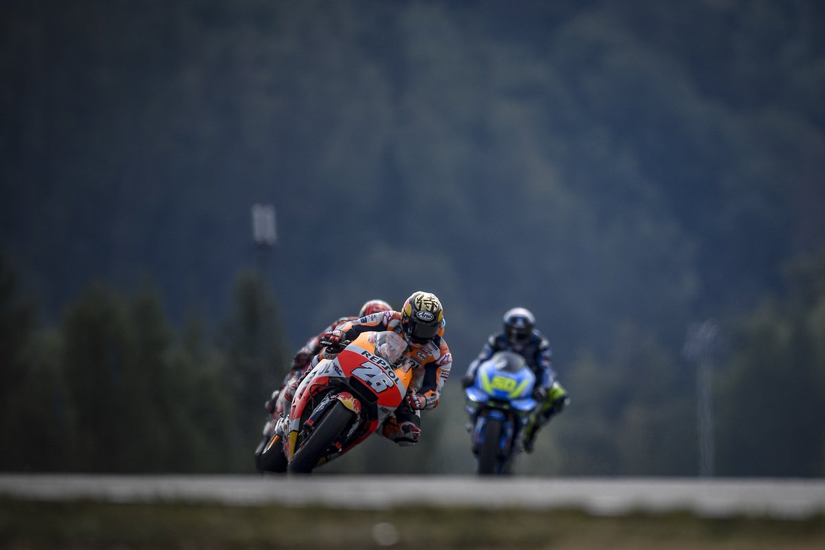 """I wasn't comfortable on the bike and I wasn&#39;t able to exit fast from the corners, so I was trying to recover in the entries. At the end, when the other riders' tyres dropped and they couldn't be so effective on acceleration, I could to make a couple of passes&quot; #DP26 P8 #CzechGP<br>http://pic.twitter.com/NkB1M3mwCq"