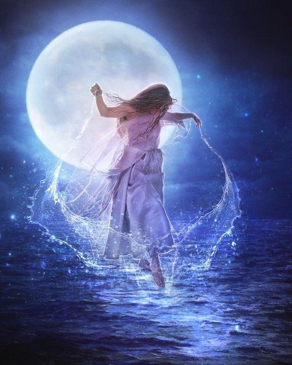 Картинки с луной и девушкой