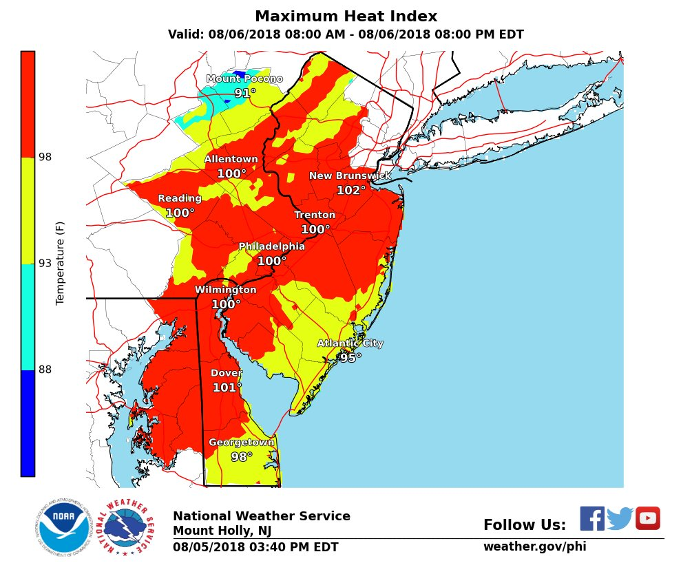 Philly heat map, courtesy of the National Weather Service