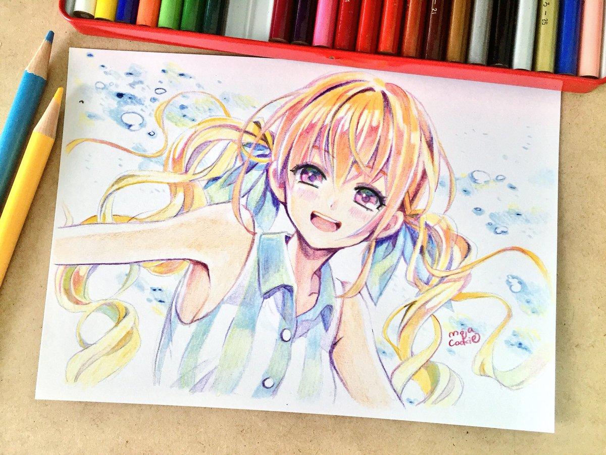 O Xrhsths もじゃクッキー Sto Twitter この前描いた女の子を色鉛筆で塗りました 夏
