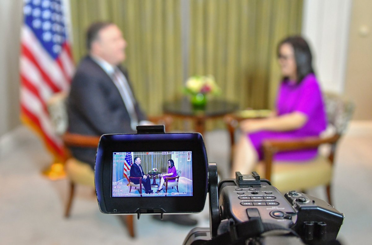 Secretary Michael R. Pompeo conducts an interview with Kania Sutisnawinata from Metro TV, August 5, 2018 in Jakarta, Indonesia.