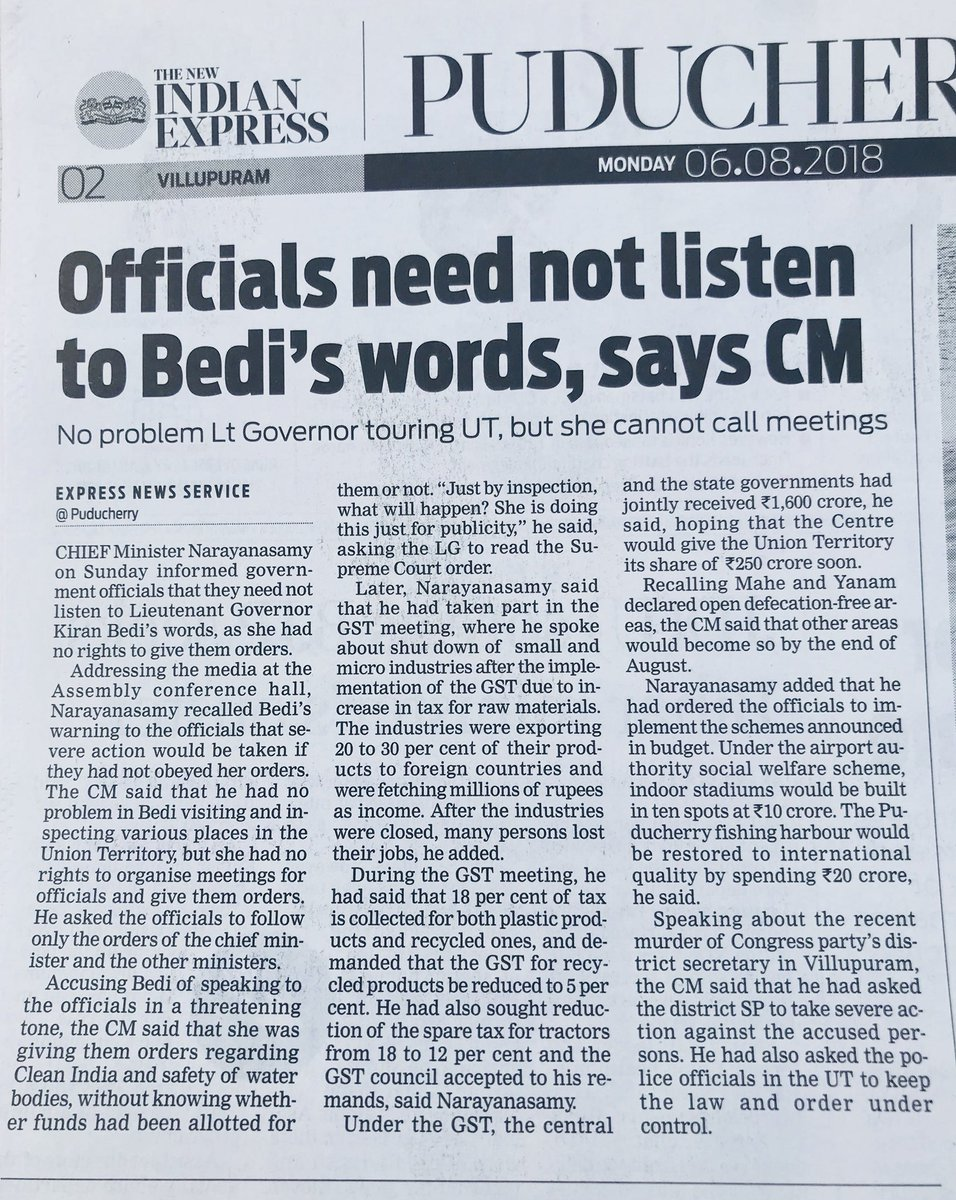 Better sense is needed for the present and future of Puducherry. These kind of exhortations are becoming too frequent from Honble CM.  Hence needed a response.  Senior Officials know who their reviewing/accepting authority is.  To get 'outstanding' reports they have to deliver..