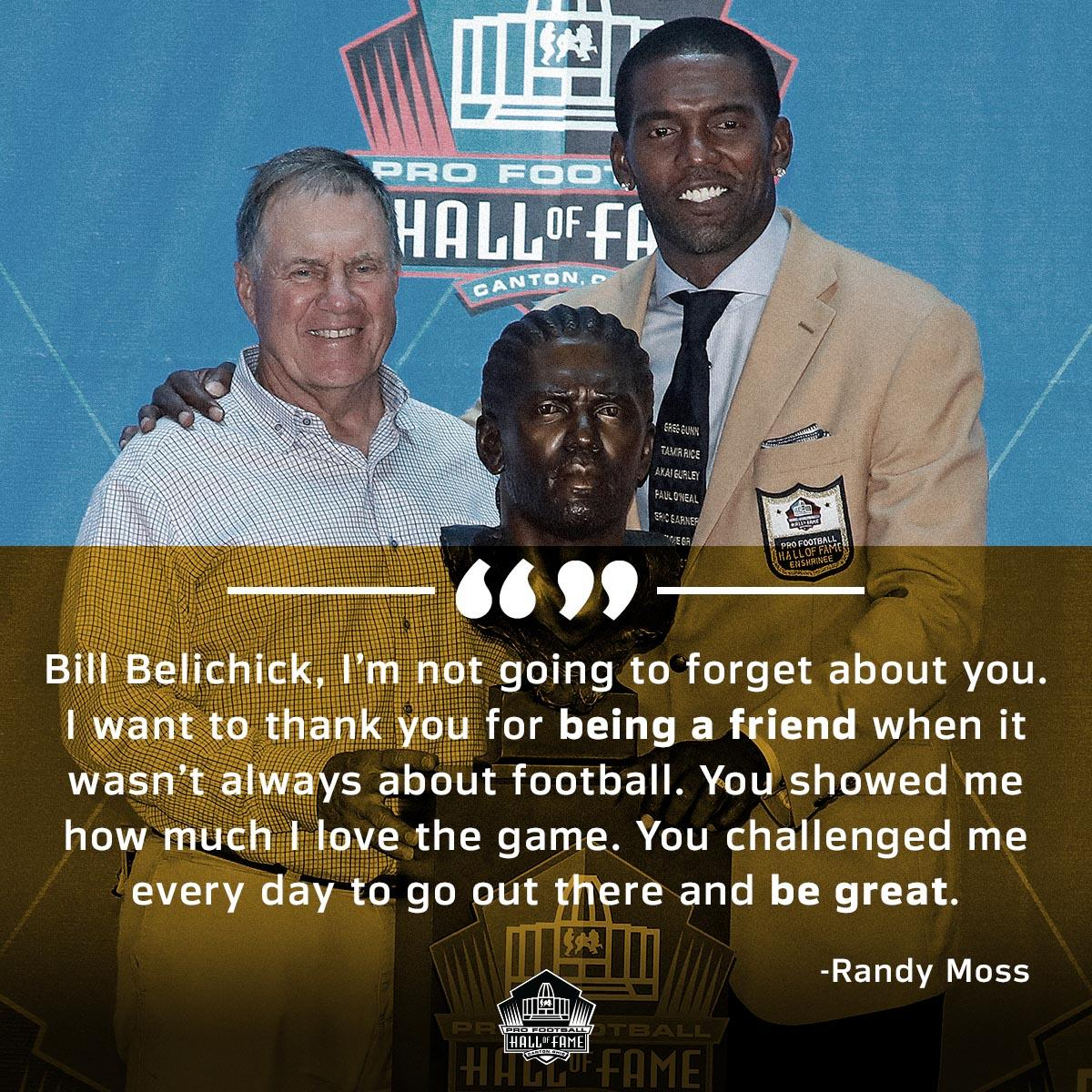 The bond between @RandyMoss and Belichick is special.  #PFHOF18