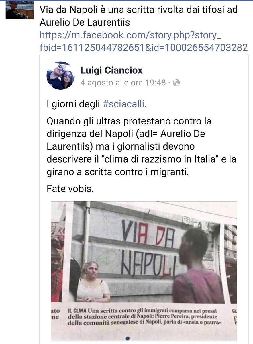 Questa immagine era stata spacciata per #emergenza #razzismo a Napoli.E invece i #bastarazzismo hanno inventato ennesima #FakeNews su un graffito sportivo.Il bello dell\