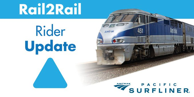 #NCTDAlert: @PacSurfliners Southbound Rail2Rail AMTRAK 796 departed Oceanside Transit Center at 1:00AM, 52 min behind schedule due to a BNSF freight train with mechanical issues just north of Carlsbad Village Station. We apologize for the inconvenience. Photo