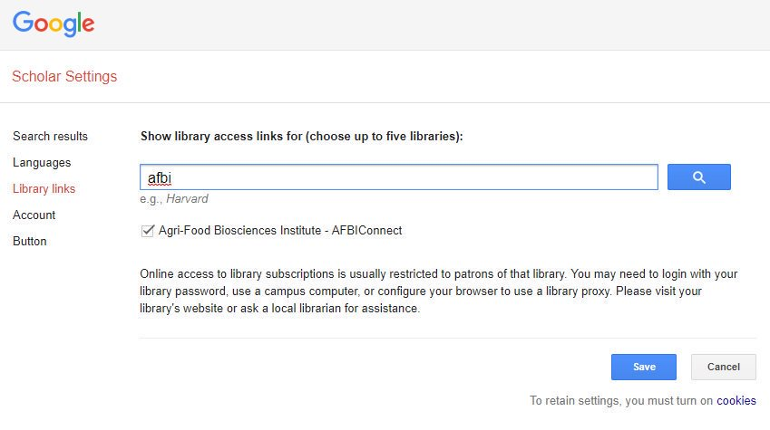Use Google Scholar? Click settings&gt;library links then search for AFBI, select then save. You&#39;ll then have a link to any full-text we hold! #afbilibrarytips #AFBILibrary #GoogleScholar <br>http://pic.twitter.com/w2KSe9GlYX