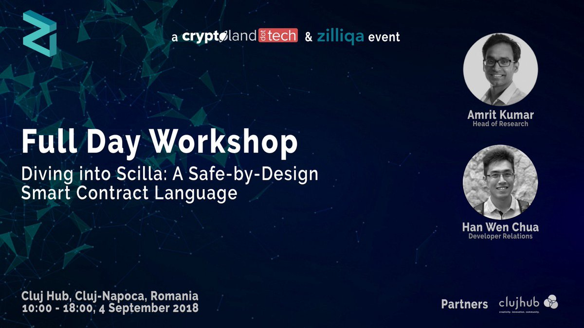 We are going to be in #Cluj #Romania September 4 doing a workshop on #smartcontract programming in #Scilla