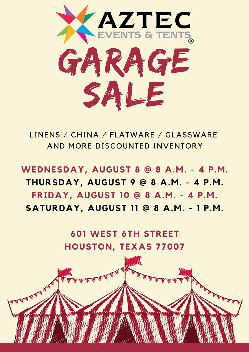 Aztec Events u0026 Tents ??? ?????  Mark your calendars -- Itu0027s that time of the year again!! You donu0027t want to miss out on our Garage Sale ?? It is open to ...  sc 1 st  Twitter & Aztec Events u0026 Tents ??? ?????: