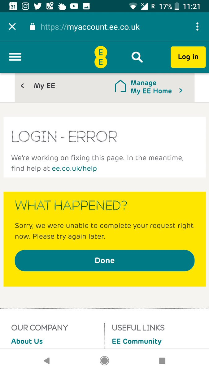 Ee A Twitter Have You Tried Logging Into The My Ee App To See If The Same Error Appears When Logging In George Craig