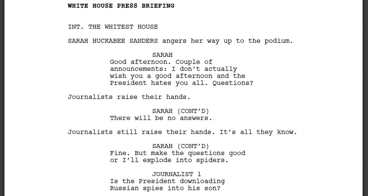 This hilarious White House press briefing transcript is the dystopian satire we need