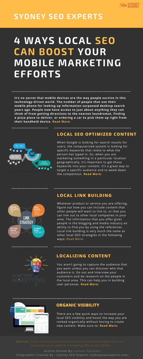 4 Ways Local #SEO Can #boost Your #mobilemarketing Efforts – Infographic by @sydneyseoxperts.  #localseo #contentmarketing #locallinkbuilding #localization #ContentStrategy #Organic #Traffic #SEO #technique #mobilemarketing  -  http:// bit.ly/2OKqELM  &nbsp;   <br>http://pic.twitter.com/BMC5tgPcJA