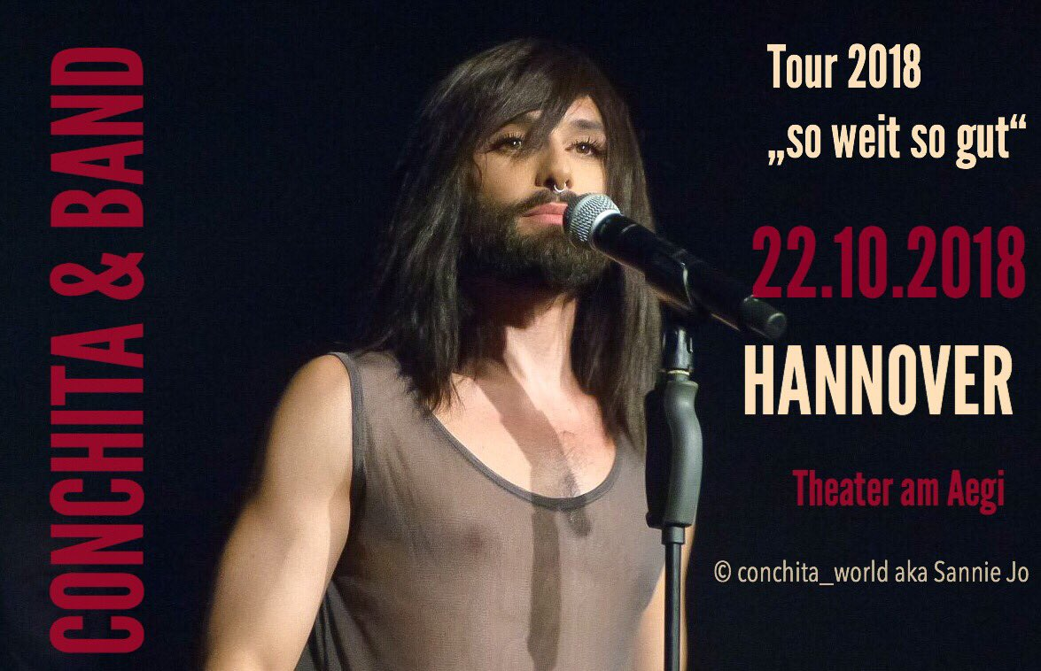 CONCHITA &amp; BAND ON TOUR.    Dates &amp; Tickets  http:// reservix.de  &nbsp;   -  http:// eventim.de  &nbsp;   - Conchita's official Website:   http://www. conchitawurst.com/events/  &nbsp;    #conchita #conchitawurst #music #germany #concert #swsg #tour #pop #hannover #song #esc #singer #lgtb #voice<br>http://pic.twitter.com/lXy00toR1A