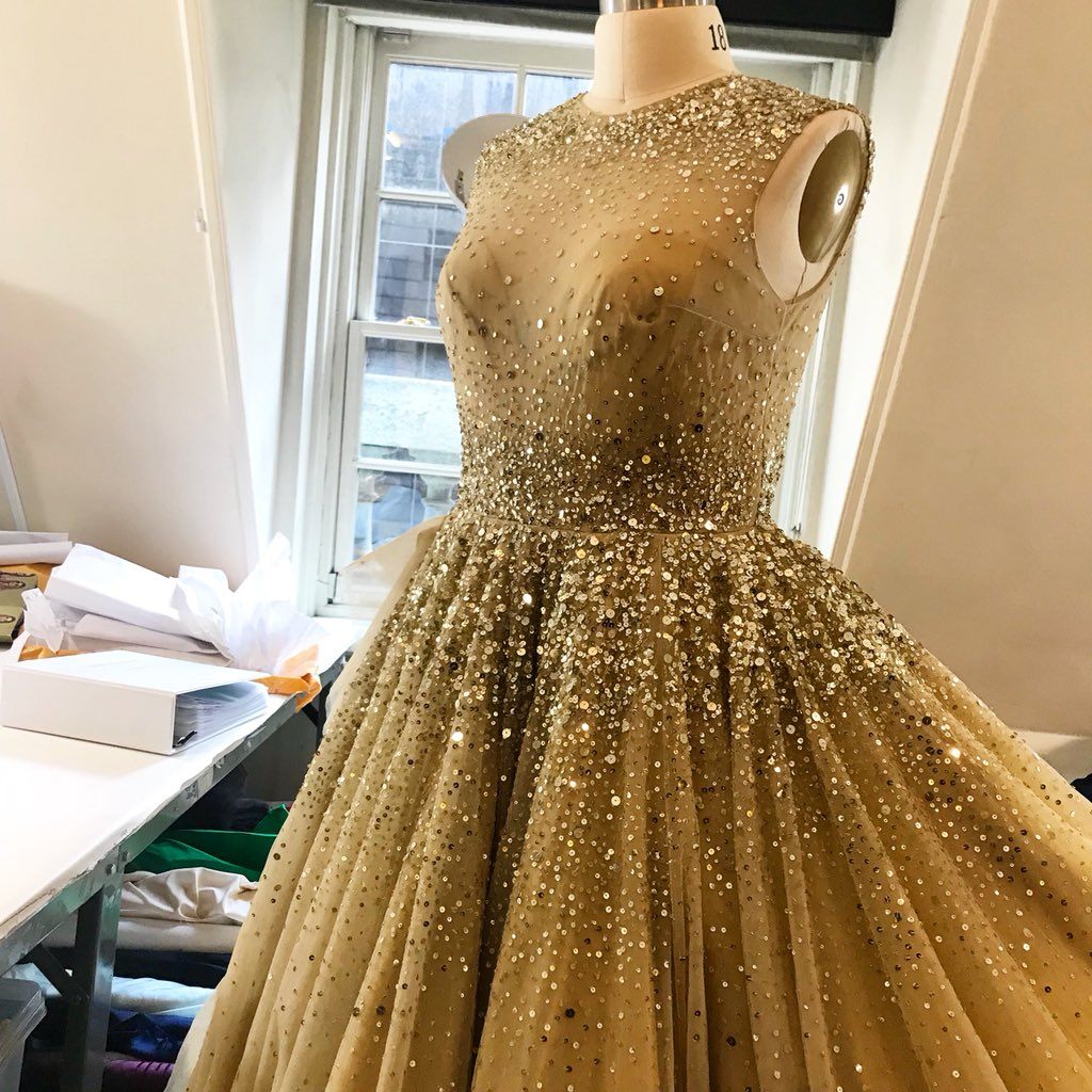 Gold metallic sequin tulle gown coming together in our studio today! #happymonday