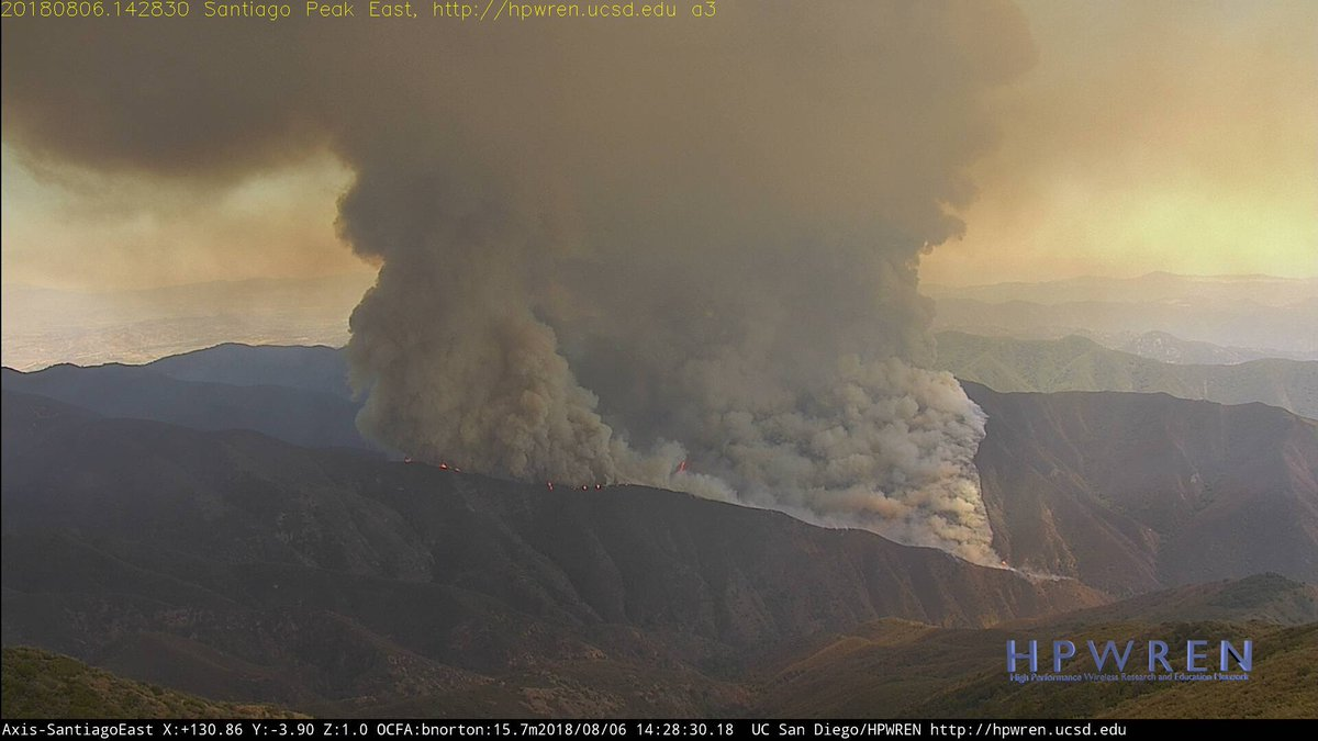 View from Santiago Peak of the #holyfire in Orange County. Image courtesy of HPWREN. #cawx